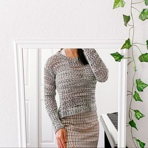 Sweaters - Gray Eyelet Sweater